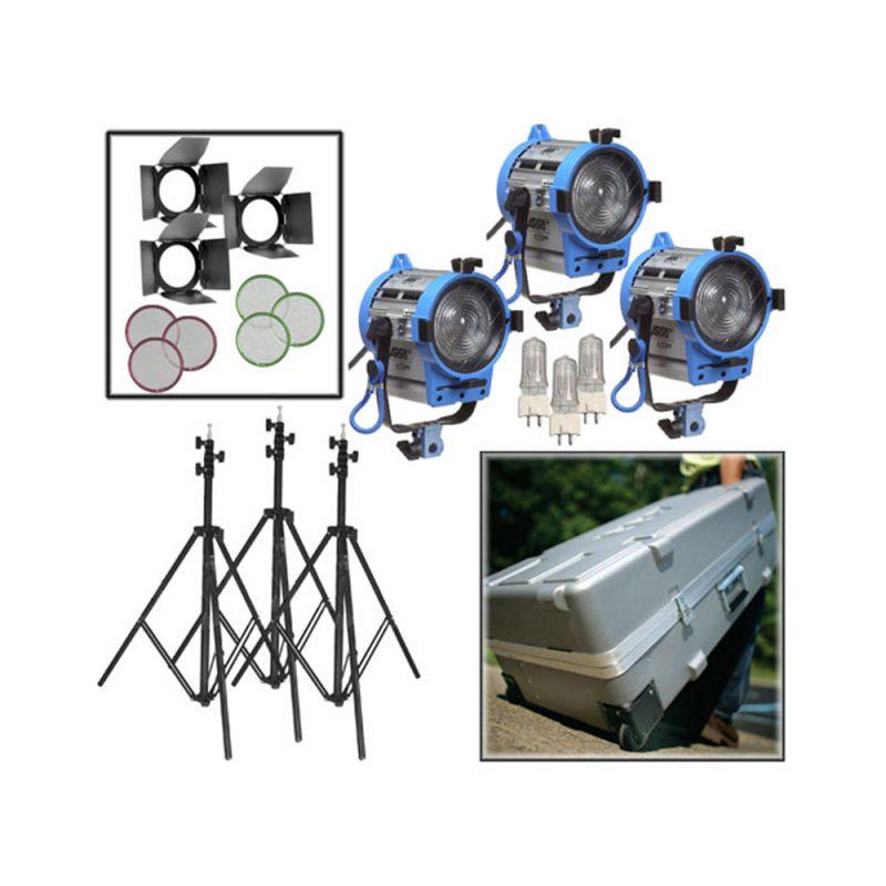 Kit de 3 Luzes Arri Compactas Fresnel de 650W